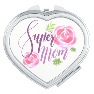 Watercolor Super Mom Accent Roses Travel Mirror