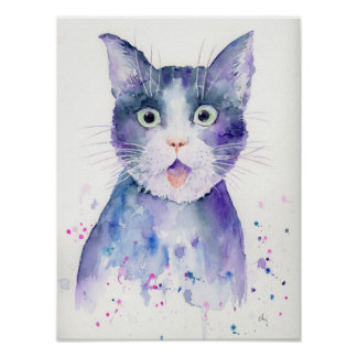 Watercolor Surprised Cat Portrait Poster