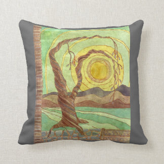 Watercolor Surreal Landscape Art Throw Pillow