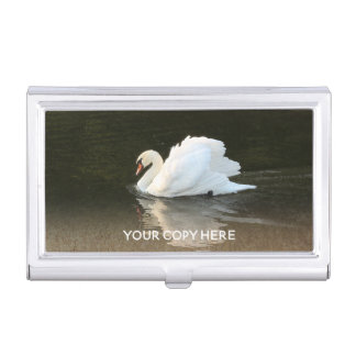 Watercolor Swan Business Card Holder