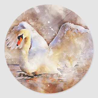 Watercolor Swan Classic Round Sticker