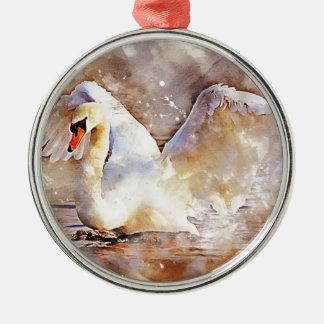 Watercolor Swan Metal Ornament