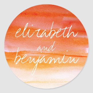 watercolor swash orange wedding classic round sticker
