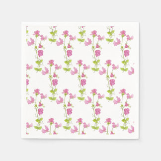 Watercolor Sweet Pea Flower Pattern  Floral Design Paper Napkin