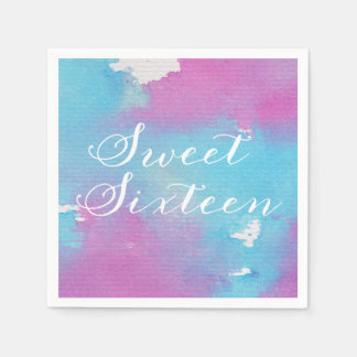 Watercolor Sweet Sixteen Paper Napkins