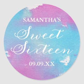Watercolor Sweet Sixteen Personalized Stickers