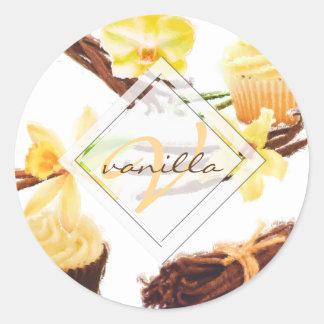 Watercolor Sweet Vanilla Orchid Monogram Classic Round Sticker