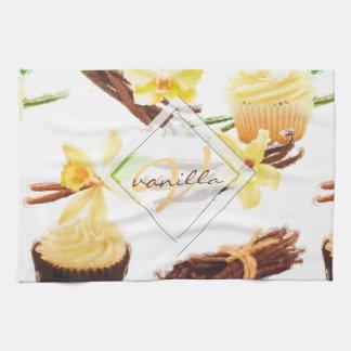 Watercolor Sweet Vanilla Orchid Monogram Kitchen Towel