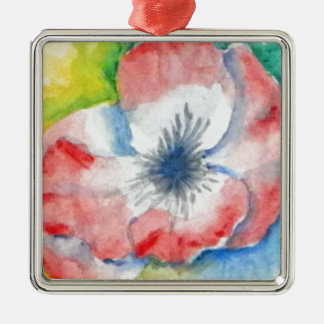 Watercolor Sweetpea Flower Art Silver-Colored Square Ornament