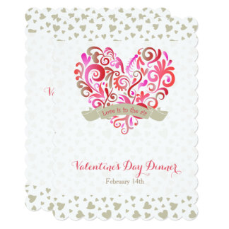 Watercolor Swirl Heart Valentine's Day Party Card