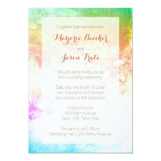 Watercolor Swirl Wedding Invitation Sunrise Multi