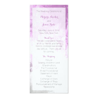 "Watercolor Swirl Wedding Program Purple 4"" X 9.25"" Invitation Card"