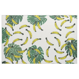 Watercolor Swiss Cheese Plant and Bananas Fabric