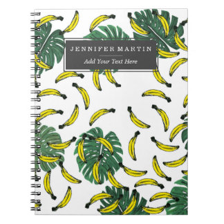 Watercolor Swiss Cheese Plant and Bananas Notebook
