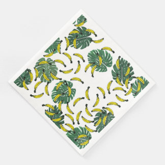 Watercolor Swiss Cheese Plant and Bananas Paper Napkin