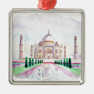 Watercolor Taj Mahal Metal Ornament