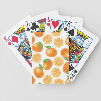 Watercolor tangerines bicycle playing cards