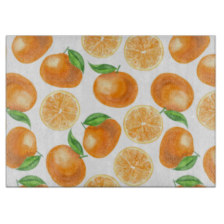 Watercolor tangerines cutting board