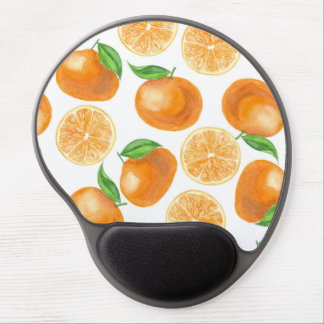 Watercolor tangerines gel mouse pad