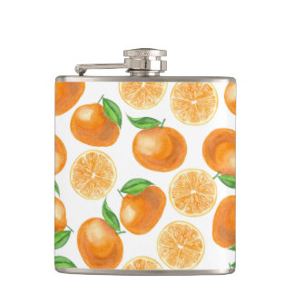 Watercolor tangerines hip flask