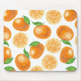 Watercolor tangerines mouse pad