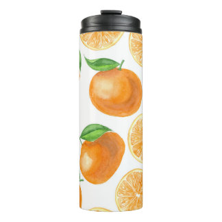 Watercolor tangerines thermal tumbler