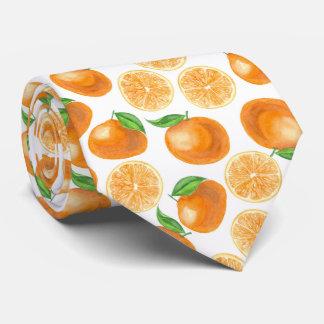 Watercolor tangerines tie