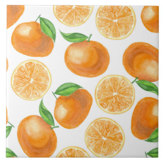 Watercolor tangerines tile