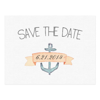 Watercolor Teal Anchor Orange Banner Save the Date Postcard