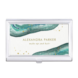 Watercolor Teal and Faux Gold Geode Business Card Cases