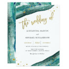 Watercolor Teal and Gold Geode Wedding Invitation