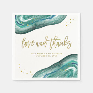 Watercolor Teal and Gold Geode Wedding Paper Napkin
