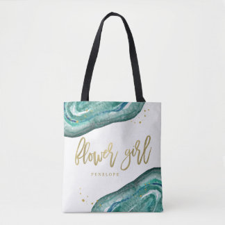 Watercolor Teal and Gold Look Geode | Flower Girl Tote Bag