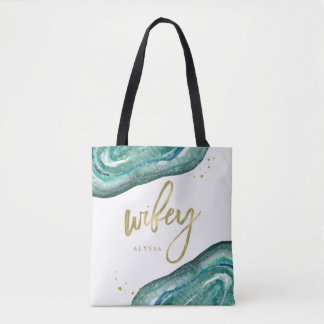Watercolor Teal and Gold Look Geode | Wifey Tote Bag