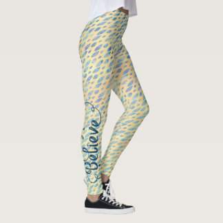 Watercolor Teal Blue Feathers on Pale Yellow Leggings