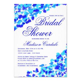 Watercolor Teal Royal Blue Bridal Shower Invites