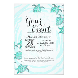 "Watercolor Teal Sea Turtles on Swirly Stripes 3.5"" X 5"" Invitation Card"