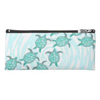 Watercolor Teal Sea Turtles on Swirly Stripes Pencil Case