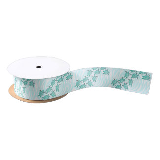 Watercolor Teal Sea Turtles on Swirly Stripes Satin Ribbon