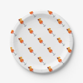 Watercolor Tequila Sunrise Cocktail 7 Inch Paper Plate