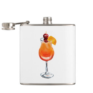 Watercolor Tequila Sunrise Cocktail Hip Flask
