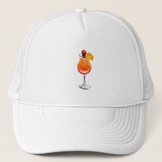 Watercolor Tequila Sunrise Cocktail Trucker Hat