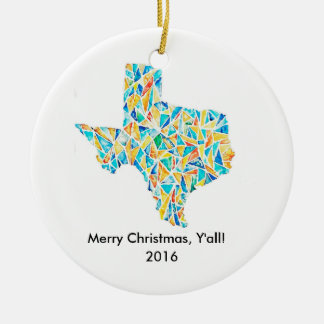 Watercolor Texas Christmas Ornament w/ Custom Text