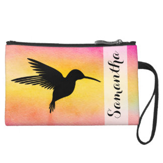 Watercolor Textured Hummingbird Colibr Clutch