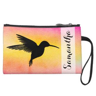 Watercolor Textured Hummingbird Colibr Clutch