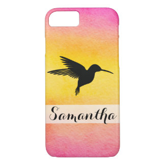 Watercolor Textured Hummingbird Colibr Iphone Case