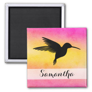 Watercolor Textured Hummingbird Colibri Magnet