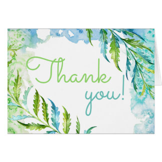 Watercolor Thank You All Occasion Blue Green Fern Card