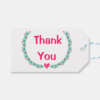 Watercolor Thank You Pink Green Laurel Wreath Gift Tags