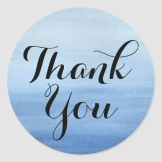 Watercolor Thanks Blue Wash Modern Thank You Classic Round Sticker